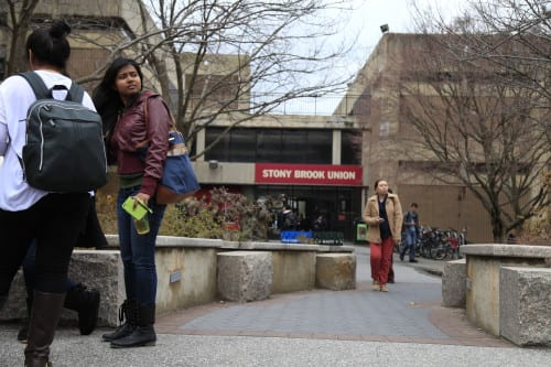 Students ever evacuated early afternoon as power went out in the Student Union. (NINA LIN / THE STATESMAN)