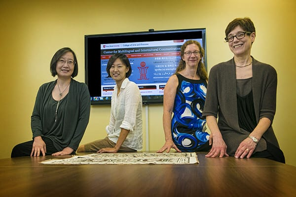 Stony Brook, NY; Stony Brook University: Members of the Multilingual and Intercultural Communication Center (L-R) Agnes He (Professor of Asian Studies), Jiwon Hwang (Research Assistant Professor in Psychology and Lecturer in Asian & Asian-American Studies), Marie Huffman (Professor of Linguistics), and Ellen Broselow (Professor of Linguistics)
