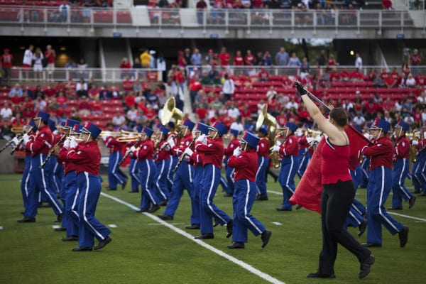 The Spirit of Stony Brook marching across the Kenneth P. LaValle stadium at the football match against Central Connecticut on Saturday. CHRISTOPHER CAMERON/THE STATESMAN